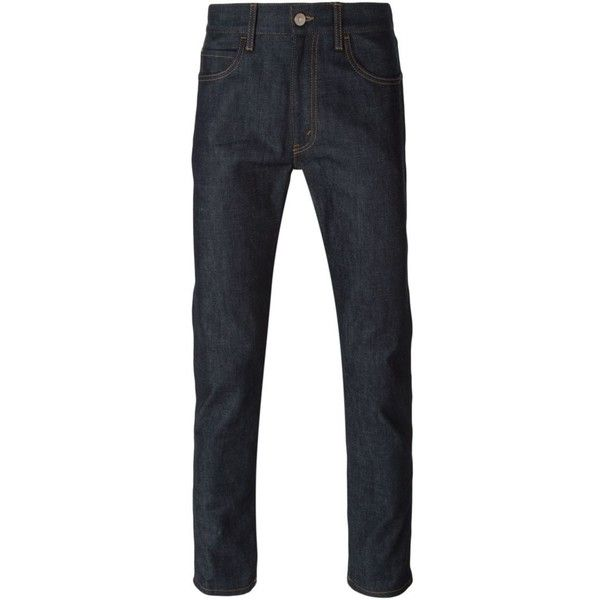 Gucci slim-fit jeans ($385) ❤ liked on Polyvore featuring men's fashion, men's clothing, men's jeans, blue, mens blue jeans, mens slim fit jeans, mens slim jeans, mens patched jeans and gucci mens jeans
