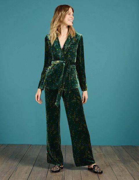 Retro Pants Velvet Trousers Deep Forest Acacia Green
