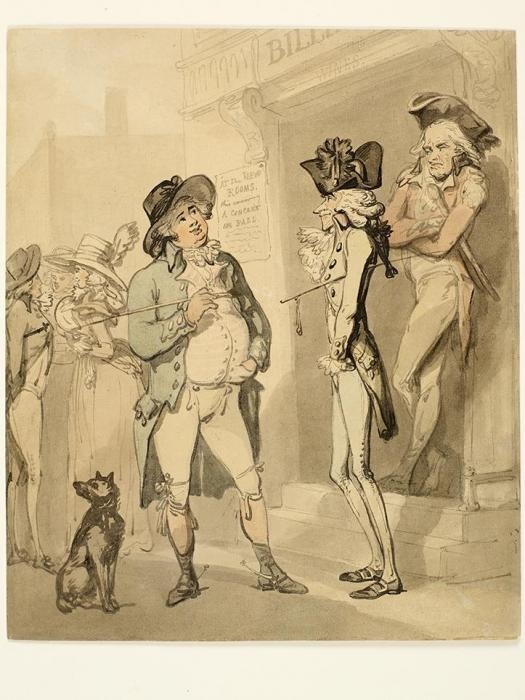 """""""Bath Beau and Country Beau"""" by Thomas Rowlandson (1788-1790) at the Birmingham Museums, Birmingham - From the curators' comments: """"The point here is a contrast between the ruddy and rotund 'John Bull' Englishman, and the effete English dandy, dressed in French fashion. The scene is set in Bath, perhaps the most fashionable city and spa in England at the time."""""""