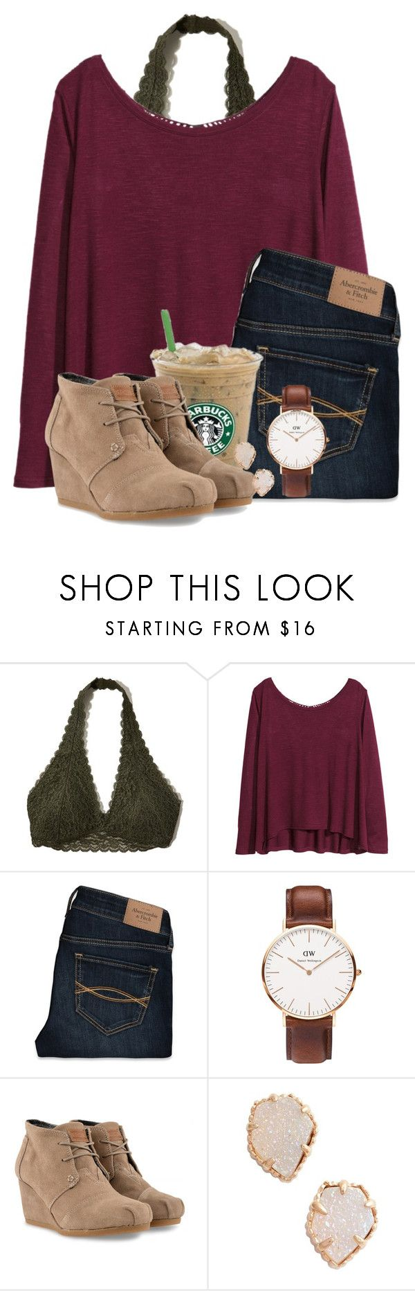""""""""""" by alliquick ❤ liked on Polyvore featuring Hollister Co., H&M, Abercrombie & Fitch, Daniel Wellington, TOMS and Kendra Scott"""