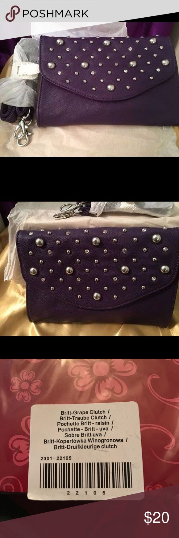 Grace Adele Grape (Purple) Britt Clutch Brand New! Never out of the package.  Purple faux leather clutch.  Studded with silver accents and rhinestones Grace Adele Bags Clutches & Wristlets