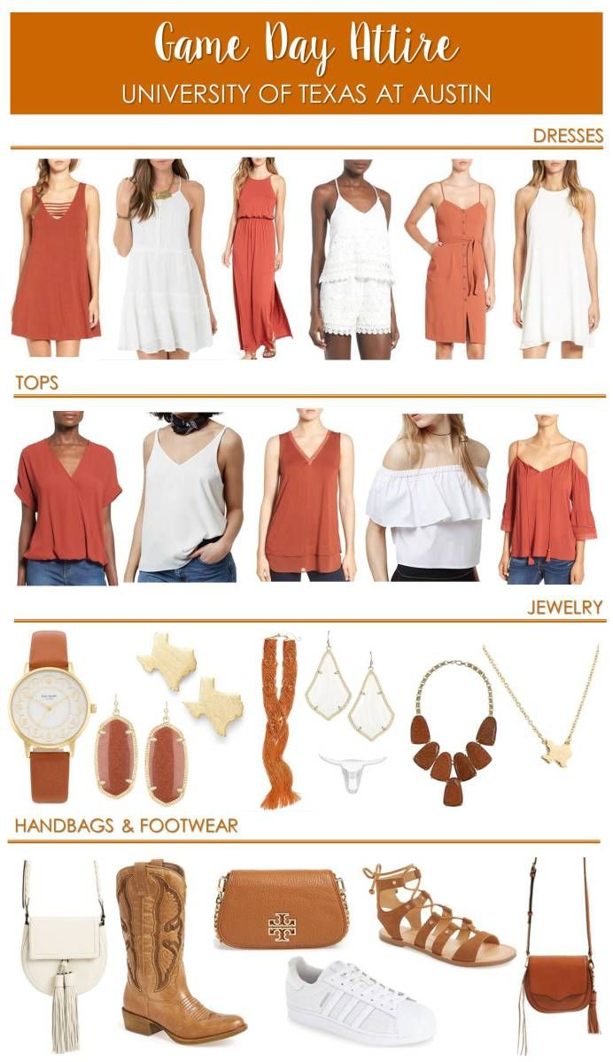 Game Day Attire;  What to wear to a University of Texas at Austin football game;  UT, burnt orange, Hook Em Horns!