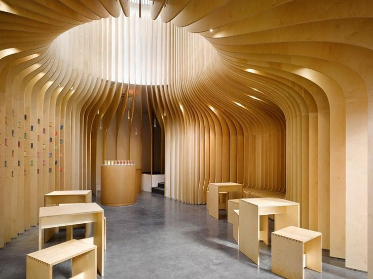 T Lounge – Wooden Tea Selling Shop Interior by Studio pha