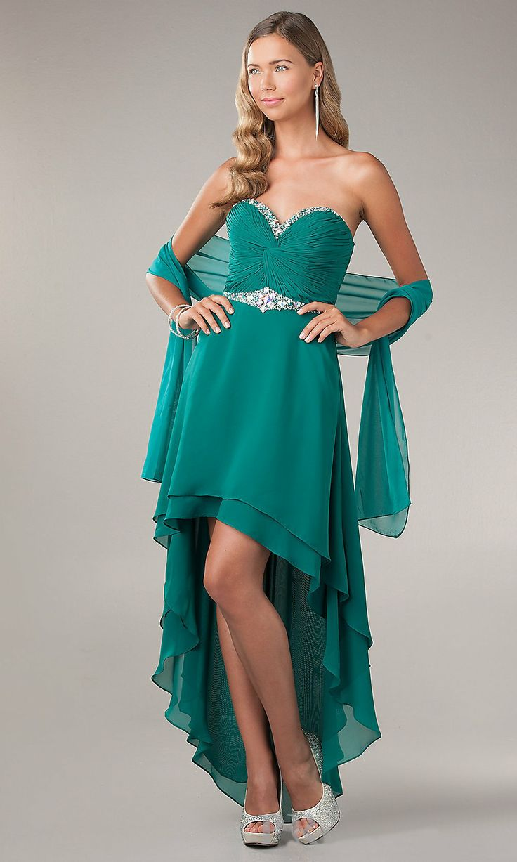 High Low Prom Dress Emerald Green Chiffon Sweetheart Neck ...