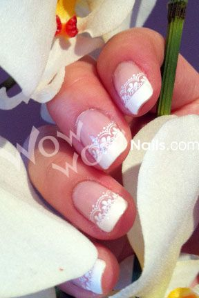 lace tips--- perfect wedding nails!