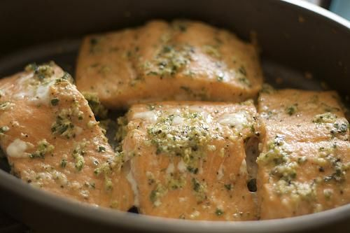 Creamy Parmesan Salmon Fillet... I did not have garlic powder or fresh lemon juice so I substituted garlic salt and lemon & pepper seasoning and it still came out great.