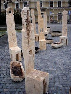 Log chairs. @Alaina Marie Marie Anglin