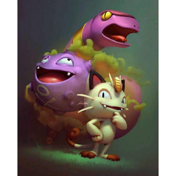 gaming1empire: #Art by Cassio Yoshiyaki #meowth#ekans#koffing#teamrocket#pokemon#nintendo#pkmn#ninstagram#pokemonmaster#pokemonx#pokemony#pokemonxy#omegaruby#alphasapphire#gamefreak#gameboy#3ds#gamer#gaming#videogame#videogames#anime#manga#pocketmonsters#fanart#artwork#gottacatchemall#pokken#pokemongo #gameboy #microobbit
