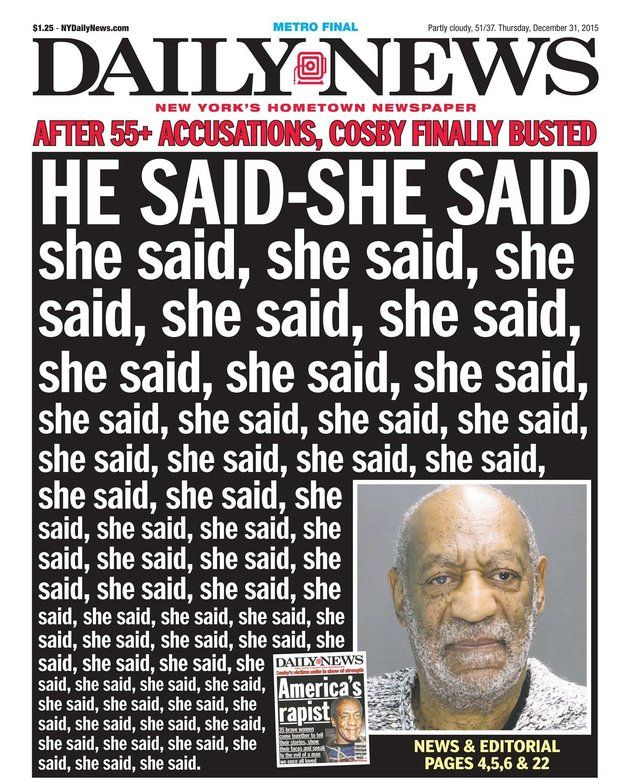 The New York Daily News Bill Cosby Cover Doesn't Pull Any Punches