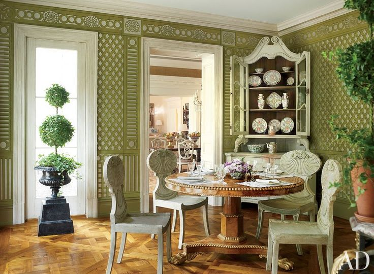 Sunroom With Hand Painted Trellis Wallpaper By Gracie    Architect:     Designer: Bunny Williams Inc.