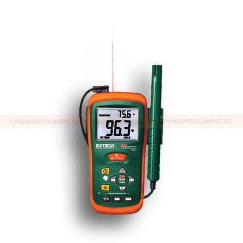 http://handinstrument.se/luftfuktighetsmatare-r688/hygro-termometer-53-RH101-r718  Hygro-termometer  Kombination Luftfuktighet meter plus infraröd termometer har en super stor bakgrundsbelyst dubbel display  Stor bakgrundsbelyst LCD-dubbel display  Primär och sekundär bildskärm  Primär displayen är valbart för IR eller luftfuktighet, Sekundär visar alltid omgivningstemperatur  Infraröd termometer har inbyggd laserpekare och en 8:1 avstånd till målet förhållandet  Data Hold...