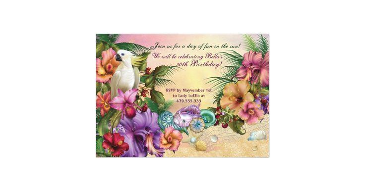 Schöne tropische, beachy luau Einladungen durch Bella LuElla  Ändern Sie den Text, um Ihr Ereignis vollständig zu passen!  Der Text und der Schriftart können geändert werden sowie Papiersorte und Schnitt!