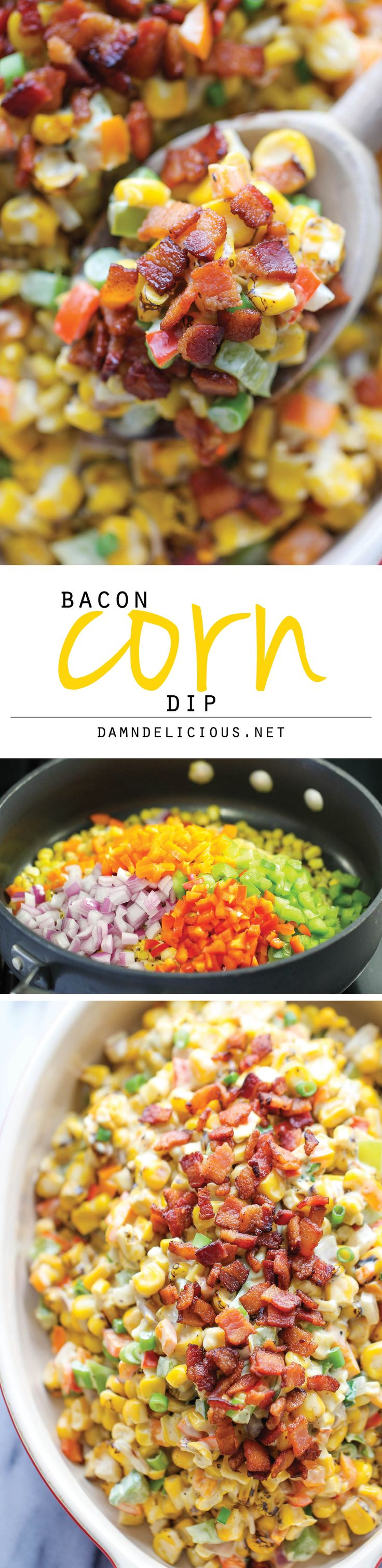 Bacon Corn Dip - This dip is unbelievably creamy and addicting. It's so good, you'll want to just skip the chips and eat this with a spoon!