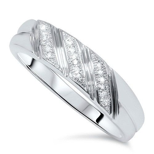 Mens Diamond Ring Wedding Band 10 KT White Gold 1/5 Carat on Etsy, £132.39