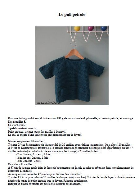 tuto du petit pull au point mousse