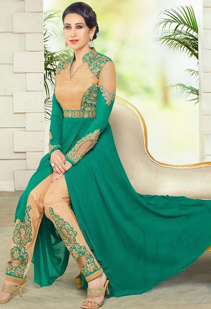 Green & Beige Georgette Party Wear Anarkali Suit With Chiffon Dupatta