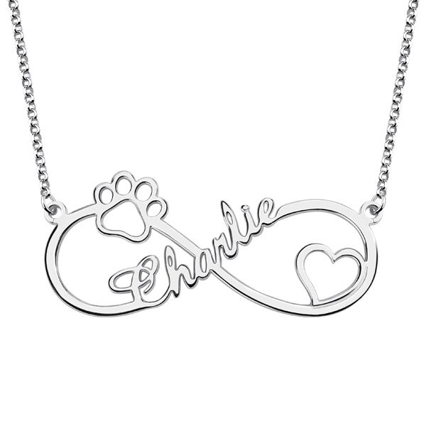 Customized Infinity Paw Print Name Necklace Silver in 2019