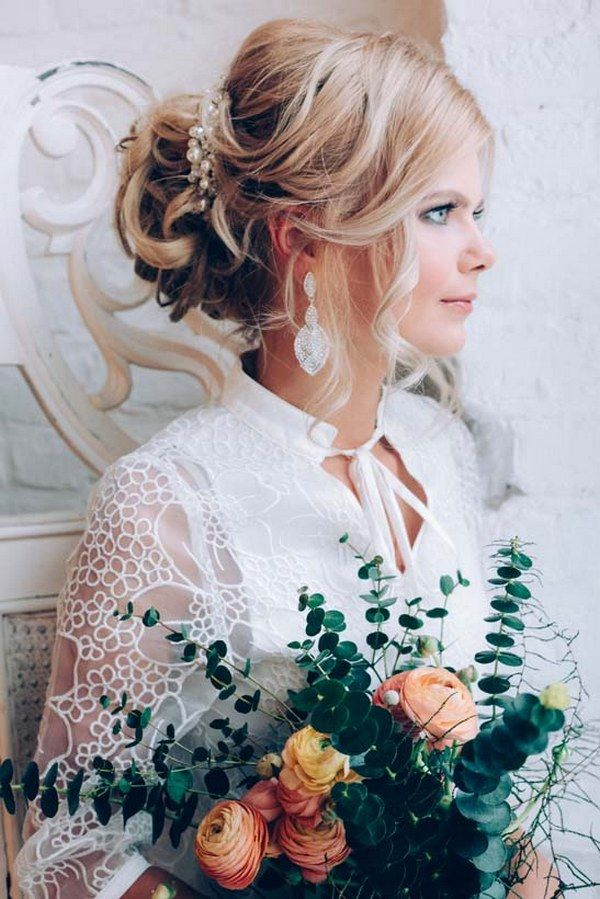 long wavy wedding updo hairstyle with wedding makeup 3 via aleksandra prudnikov / http://www.himisspuff.com/beautiful-wedding-updo-hairstyles/10/