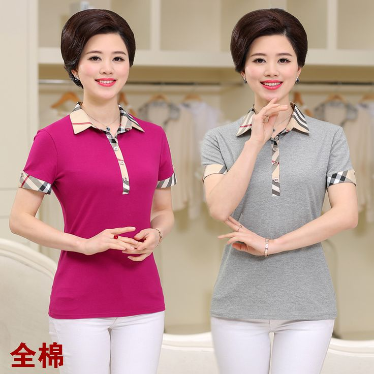 Quinquagenarian women's summer t-shirt short-sleeve 100% cotton polo shirt turn-down collar women's top  #Affiliate