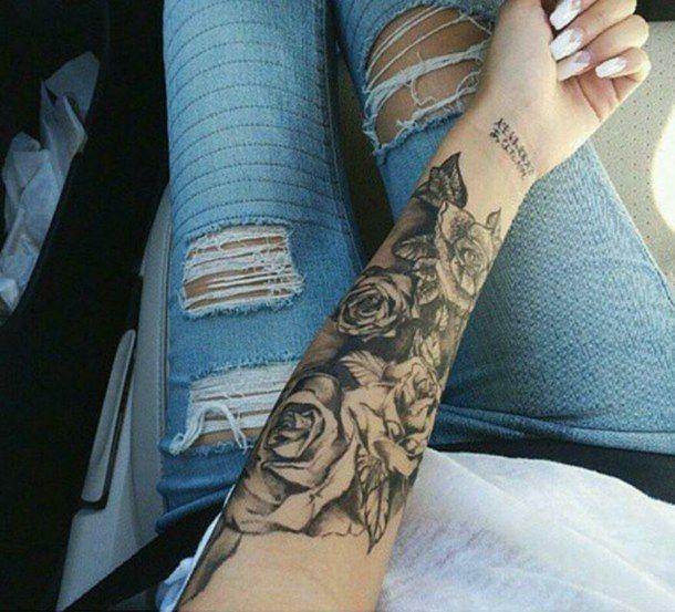 arm, black, girl, roses, sleeve, tattoo