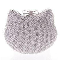 Mode de luxe diamant argent de soirée sacs cat head or strass embrayage arc noeud cristal bourse glitter bolsa feminina 1272(China (Mainland))