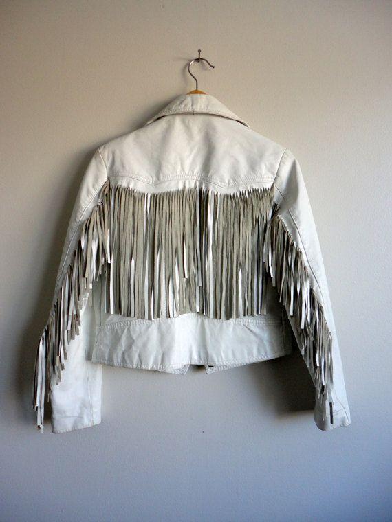 80s Fringe White Leather Biker Jacket by Perino Ponti - Cropped Multi Zipper - Hair Metal Long Fringe Trashy Jacket on Etsy, $101.44