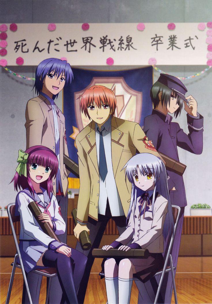 Angel Beats Graduation!!! Yuri Nakamura, Kanade Tachibana, Hideki Hinata, Yuzuru Otonashi, and Ayato Naoi