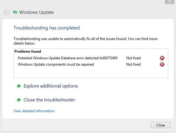 potential windows update database error not fixed windows 10