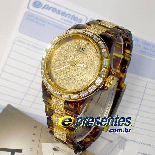 AH28099S Relógio ANA HICKMANN Original Pulseira Casco Tartaruga (Acrilic Tortoise)