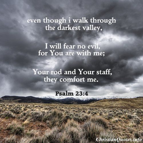 """Even though I walk through the darkest valley, I will fear no evil, for you are with me; your rod and your staff, they comfort me.""  -Psalm 23:4 For more Christian and inspirational quotes, please visit www.ChristianQuotes.info #Christianquotes #Bible, #Psalm"