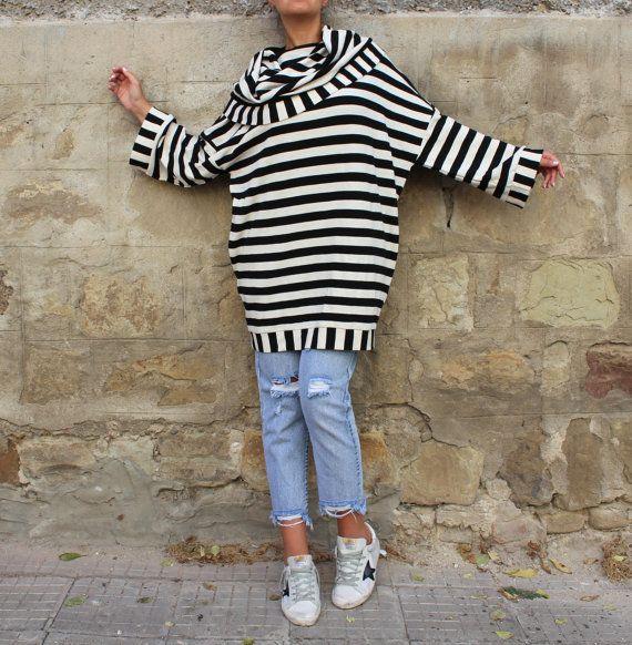 Lange mouwen jurk / zwart-wit kleden / Midi door cherryblossomsdress