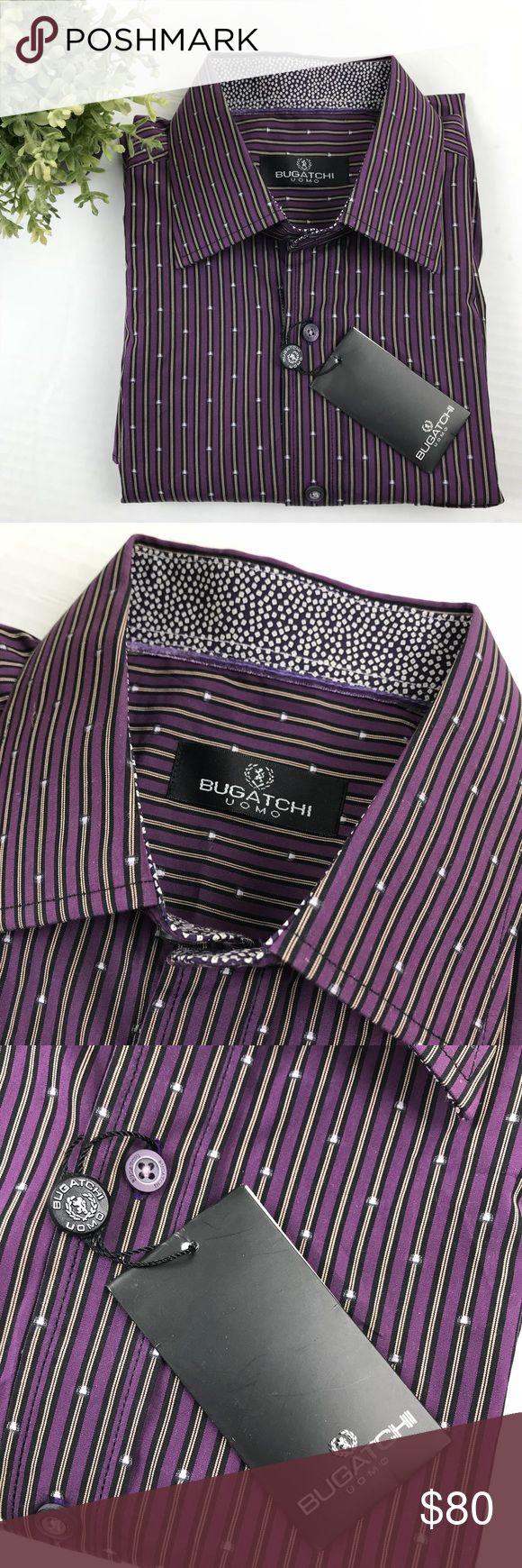"Bugatchi Uomo purple button down shirt Large NWT!  Measurements: Shoulder to shoulder: 20"" Armpit to armpit: 25.5 Armpit to hem: 17"" Sleeve length:26"" Armhold:11"" Bugatchi Shirts Dress Shirts"