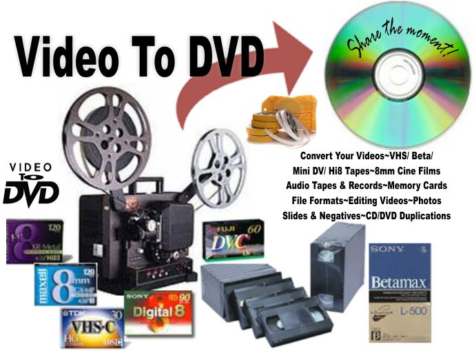 Convert transfer VHS tapes, Beta tapes, 8mm & 16mm Cine Films, Camcorder tapes, Handycam tapes, Audio tapes, LP's as well as Digital Camera and Memory Cards onto DVD or CD.
