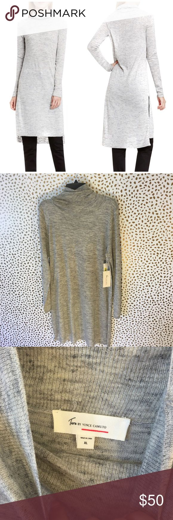 NWT Two by Vince Camuto Side Slit Long Tunic So cute and perfect for fall! Brand new with tags. Long with turtleneck and side slits. Size XL. Linen blend. No trades!! 062517100dr Vince Camuto Sweaters Cowl & Turtlenecks