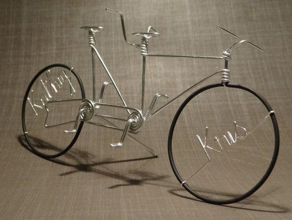 velo tandem en fil aluminium par Brunovelo sur Etsy