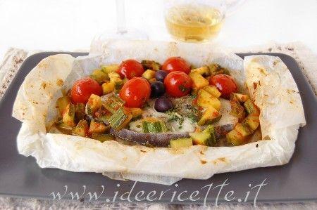Cartoccio di pesce spada con zucchine e pomodorini