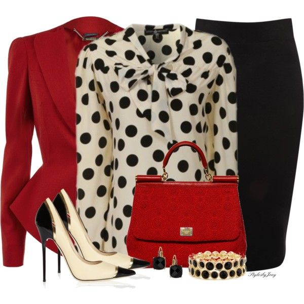Polka dots and red accents! Lovely:)