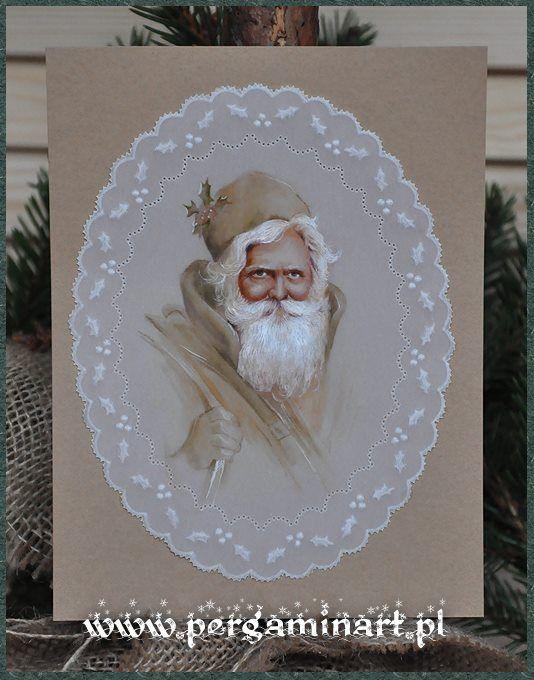 "Pergaminart ""Swięty Mikołaj"" Autor - Adrianna Gargas technika pergaminowa / pisaki Art&Graphic + biały tusz Pergaminart ® '2014 https://www.facebook.com/pages/Pergaminart/464106840371284?fref=photo"