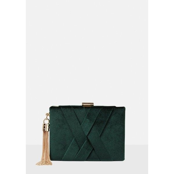 Missguided Velvet Cross Box Clutch Bag (160 BRL) ❤ liked on Polyvore featuring bags, handbags, clutches, hard clutch, metallic box clutch, metallic clutches, green handbags and metallic purse