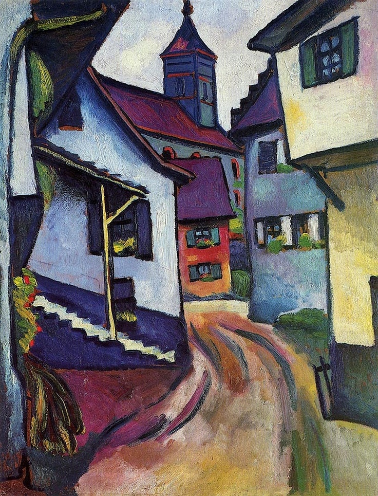 This Expressionist painting features a church overlooking a dusty street. The framed art print will provide any room with a stylish touch. Artist: August Macke Title: Street with a Church Product type