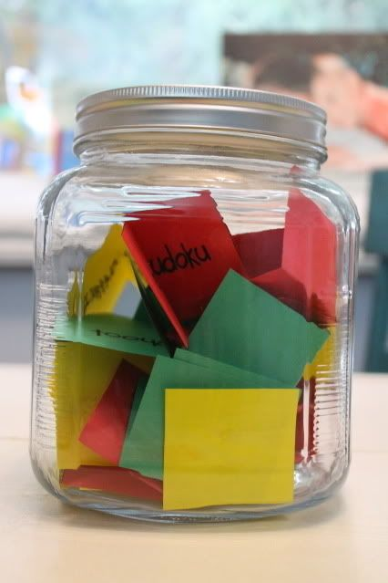 Have an activity jar for breaks or rainy days.   31 Clever And Inexpensive Ideas For Teaching Your Child At Home