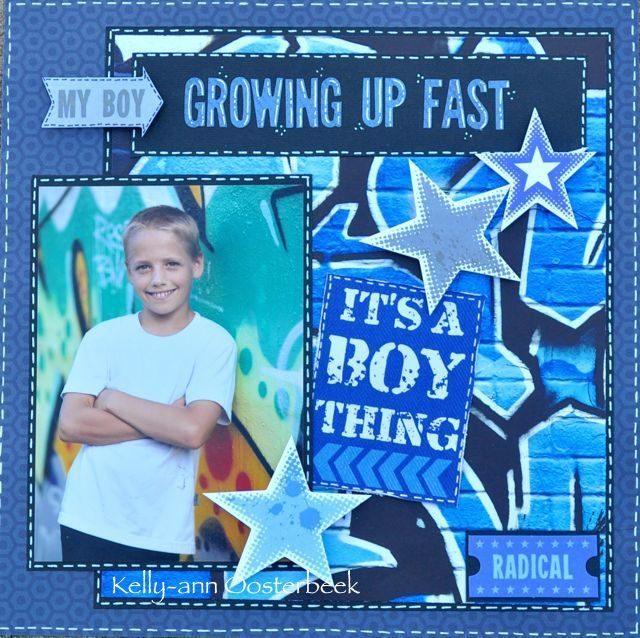 A layout made by Kelly-ann Oosterbeek, using the Off the Wall Collection from Kaisercraft. www.amothersart.com.au