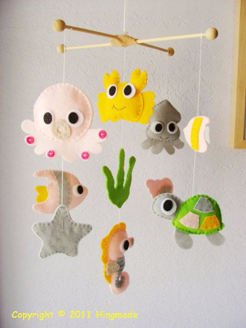 Baby Nursery Mobile - Baby Crib Mobile - Baby Mobile - Handmade Baby Mobile - Hanging Mobile - Go Fish Ocean theme (Choose your colors)