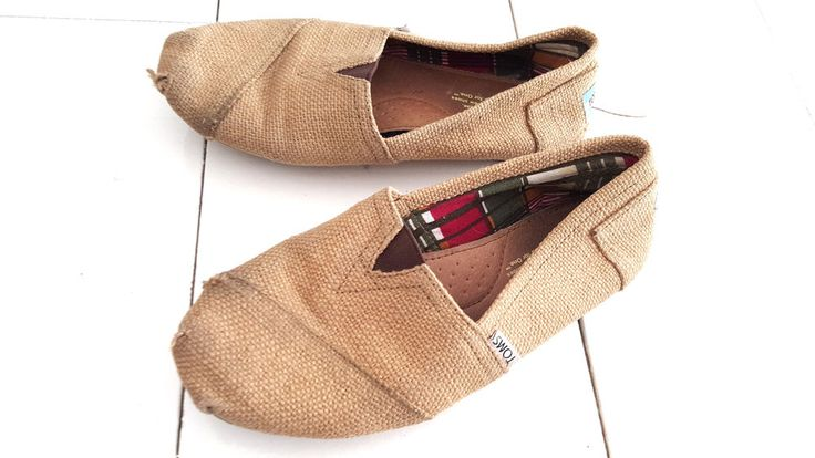 Toms Shoes Size 8 Womens Brown Burlap Jute Casual Worn  #TOMS #LoafersMoccasins #Casual