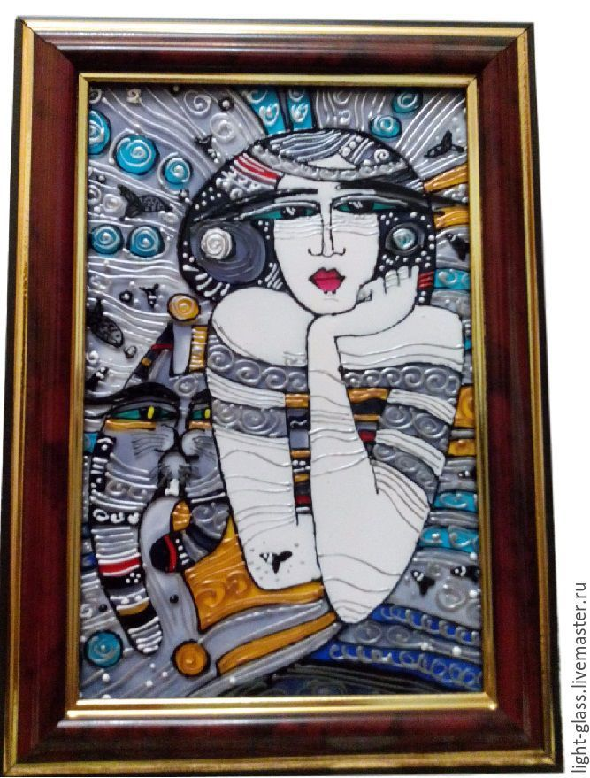 Купить Картинка витражная Девушка с котом - витражная картинка, настольная картинка, картинка на стекле