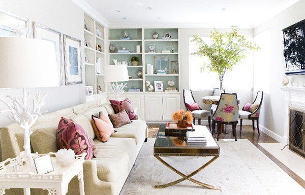 romantic meets rustic style: Living Rooms Wall, Living Rooms Chairs, Idea, Cabinets Colors, Floral Patterns, Chairs Fabrics, Robins Eggs Blue, Families Rooms, Design Group