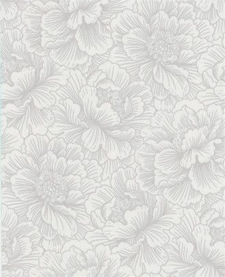 Flourish White Wallpaper design by Graham and Brown - large-scale floral blooms along with fine, metallic linear detail