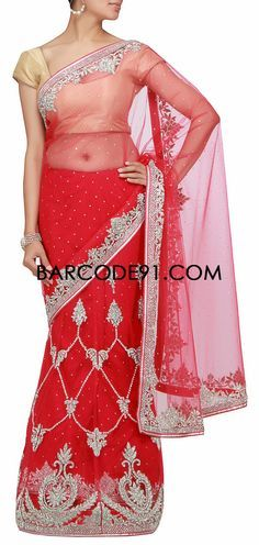 Buy it now http://www.barcode91.com/a-bright-red-lehenga-saree-with-kundan-and-zari-embroidery-by-barcode-91-exclusive.html A bright red lehenga saree with kundan and zari embroidery by Barcode 91 Exclusive