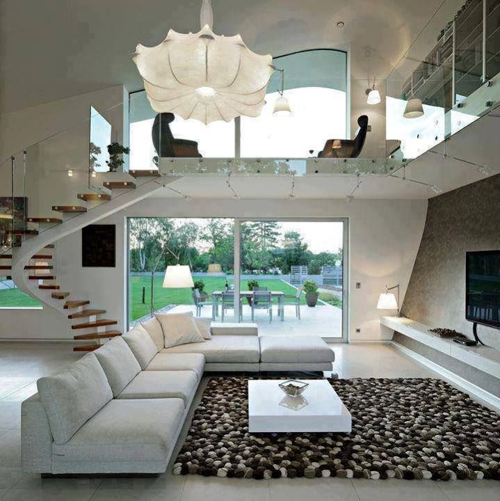 Love the high ceiling and how the living is visible from the second floor