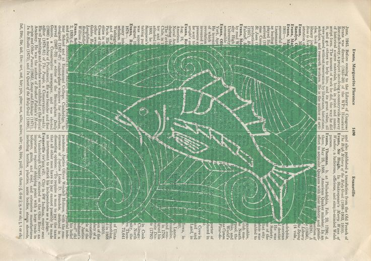 Green Fish linocut linoleum cut hand pulled print one of one original print one of a kind print hand carved artist proof signed original by paperwerks on Etsy #etsy